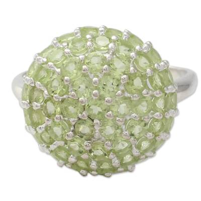 Cocktail Ring with Cluster Set Peridot and Sterling Silver