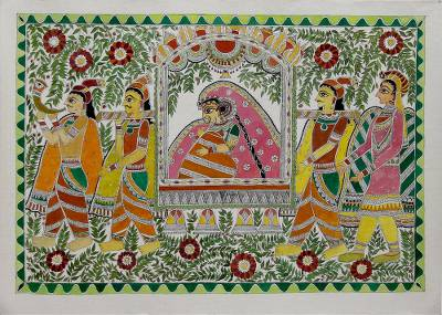 Hand Painted Madhubani Art of Mithila Bride from India