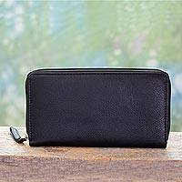 Leather wallet, 'On the Go in Black' - Women's Black Leather Wallet with Multiple Compartments
