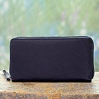 Leather wallet, 'On the Go in Blue' - Accordion Style Blue Leather Wallet Hand Crafted in India