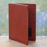 Leather passport wallet Globetrotter in Sienna India