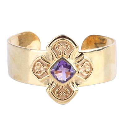 Gold Plated Sterling Silver Cross Cuff Bracelet from India