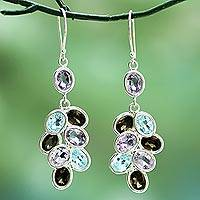 Amethyst, quartz, and blue topaz dangle earrings, 'Smoky Beauty' - Silver Gem Amethyst Quartz Topaz Dangle Earrings from India