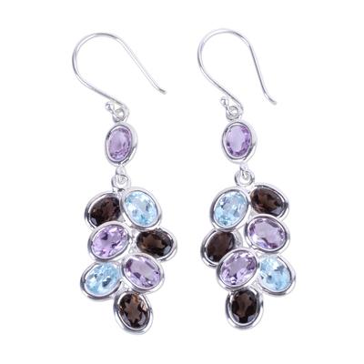 Silver Gem Amethyst Quartz Topaz Dangle Earrings from India