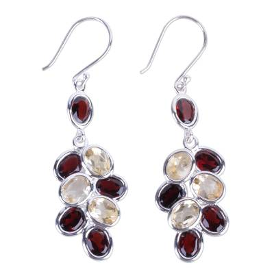Garnet and Citrine Dangle Earrings 30 Carat from India