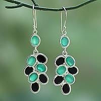Black and green onyx dangle earrings,