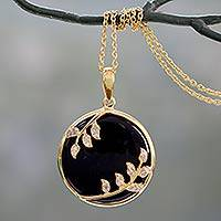 Gold vermeil onyx pendant necklace, 'Dewdrop Nature' - Black Onyx and CZ Handcrafted Gold Vermeil Necklace