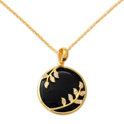 Black Onyx and CZ Handcrafted Gold Vermeil Necklace