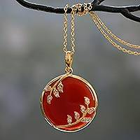 Gold vermeil onyx pendant necklace, 'Red Dewdrop Nature' - Handcrafted Gold Vermeil Necklace with Red Onyx and CZ