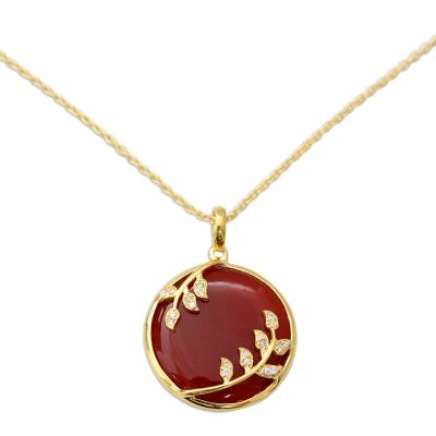 Handcrafted Gold Vermeil Necklace with Red Onyx and CZ