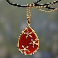 Gold vermeil onyx pendant necklace, 'Red Floral Kiss' - Gold Vermeil Red Onyx Teardrop Necklace with Cubic Zirconia