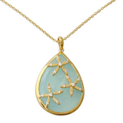 Aqua Chalcedony 18k Gold Vermeil Cubic Zirconia Necklace