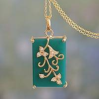 Vermeil chalcedony pendant necklace, 'Forever You' - Green Onyx and Cubic Zircona on Gold Vermeil Necklace