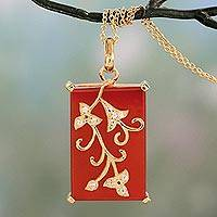 Gold vermeil onyx pendant necklace, 'Forever You in Red' - Gold Vermeil Red Onyx Necklace with Cubic Zirconia