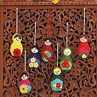 Wool ornaments, 'Seven Sisters' (set of 7) - Set of 7 Different Girl Ornaments Made of Wool Felt