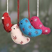 Wool felt ornaments, 'Messengers of Joy' (set of 4) - Assorted Color Wool Bird Ornaments from India (Set of 4)