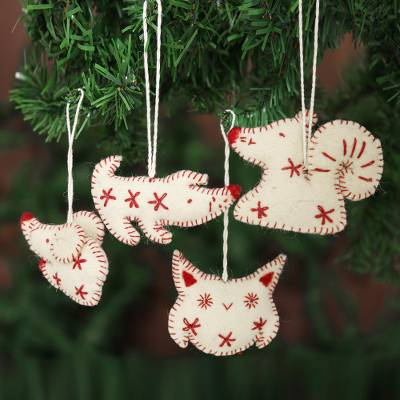 Wool felt ornaments, 'Unity' (set of 4) - Ivory and Red Wool Felt Animal Ornaments (Set of 4)