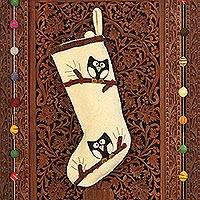 Wool felt holiday stocking, 'Jolly Owls' - Ivory Wool Felt Christmas Stocking with Owl Motif