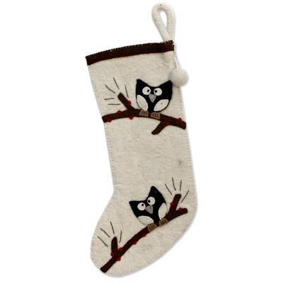 Wool felt holiday stocking, 'Jolly Owls' - Ivory Wool Felt Christmas Stocking with Owl Motif