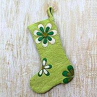 Wool felt holiday stocking, 'Christmas Cheer' - Green Floral Christmas Stocking in Pure Wool Felt