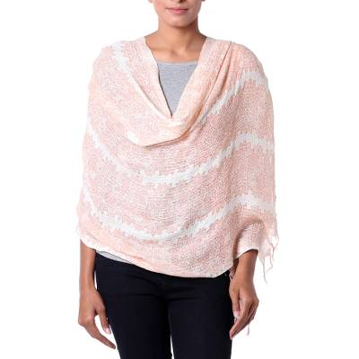 Viscose shawl, 'Pretty Peach Blossoms' - Ecru and Orange Viscose Floral Shawl with Sequins