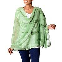 Cotton and silk blend shawl, 'Green Paisley Dreams' - Sheer Lightweight Green Paisley Cotton Blend Shawl