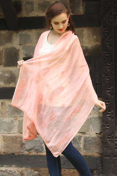Cotton and silk blend shawl, 'Peach Paisley Dreams' - Peach Colored Cotton and Silk Blend Shawl with Paisley Motif