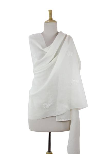 Cotton and silk blend shawl, 'Lucknow Garden in White' - Sheer Cotton Silk Blend Shawl in White with Hand Embroidery