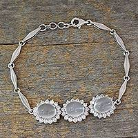 Moonstone pendant bracelet, 'Misty Trio' - Moonstone and Cubic Zirconia Pendant Bracelet from India