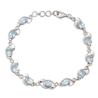 Sterling Silver Bracelet with Eleven Carats of Blue Topaz