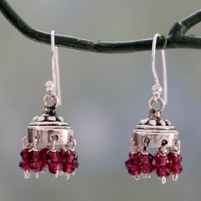 Garnet dangle earrings, 'Traditional Grace' - Jhumki Style Earrings with Sterling Silver and Garnets