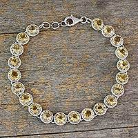 Citrine tennis bracelet, 'Golden Enchantment' - Tennis Bracelet Set with 21 Carats of Citrine Gemstones
