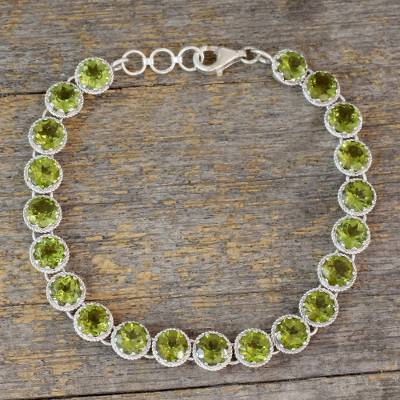 Peridot tennis bracelet, 'Verdant Enchantment' - Peridot Tennis Style Bracelet Set in Rhodium Plated Silver