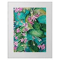 'Spring Time' - Matted and Signed Colored Ink Painting of Spring Flowers