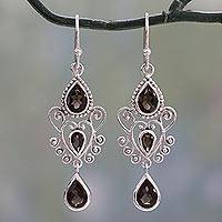 Smoky quartz dangle earrings, 'Enchanted Princess' - Sterling Silver and Smoky Quartz Dangle Style Earrings