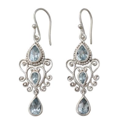 Blue Topaz Gemstone Dangle Earrings in 925 Sterling Silver