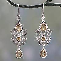 Citrine dangle earrings, 'Enchanted Princess' - Sterling Silver Dangle Earrings with Pear Shaped Citrines