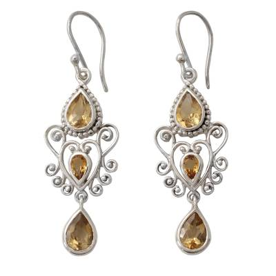 Sterling Silver Dangle Earrings with Pear Shaped Citrines