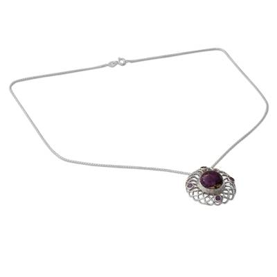 Amethyst and Composite Purple Turquoise Pendant Necklace