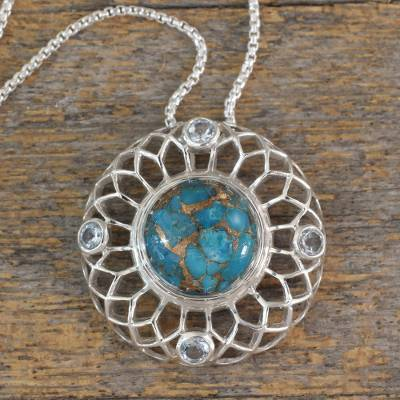 Blue topaz pendant necklace, 'Blue Web' - Silver Necklace with Blue Topaz and Composite Turquoise