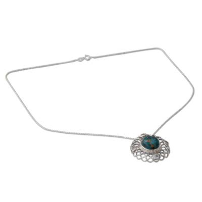 Silver Necklace with Blue Topaz and Composite Turquoise