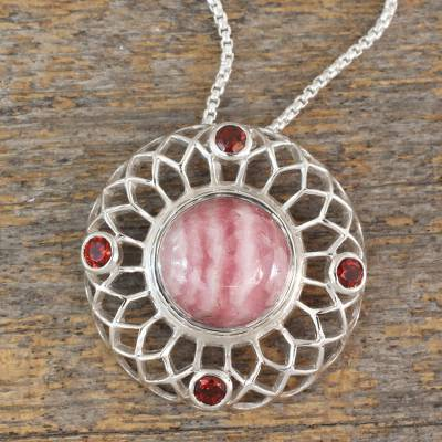Rhodochrosite and garnet pendant necklace, 'Pink Web' - Sterling Silver Pendant Necklace with Rhodochrosite