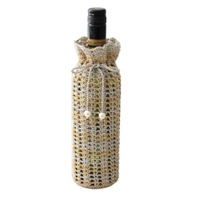 Hand Crocheted Wine Bottle Holder in Silver and Gold Colors