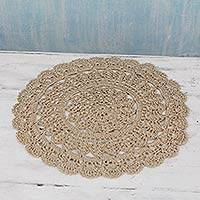 Crocheted doily, 'Concentric Glam' - Hand Crocheted Decorative Round Beige Doily from India