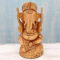 Wood sculpture, 'Blessing of Ganesha' - Wood Hand Carved Hindu Ganesha Statuette from India