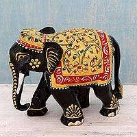 Wood sculpture, 'Festive Jaipuri Elephant' - Hand Carved and Painted Kadam Wood Elephant Sculpture