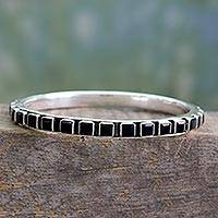 Onyx bangle bracelet, 'Fast Track' - Contemporary Silver Bangle Bracelet Set with Onyx