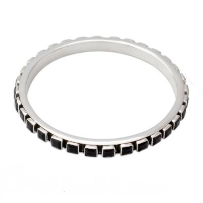 Contemporary Silver Bangle Bracelet Set with Onyx