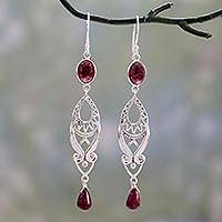 Ruby and garnet dangle earrings, 'Mughal Mystery' - Long Ruby and Garnet Earrings in Sterling Silver from India