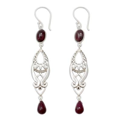 Long Ruby and Garnet Earrings in Sterling Silver from India